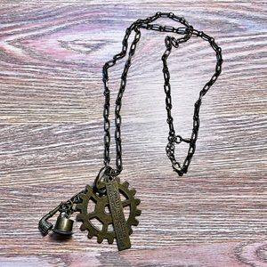 Geometric Steampunk Layering Bronze Necklace Long